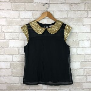 Anthropologie Tulle Black Gold Sequin Blouse